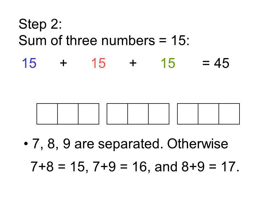 Step 2: Sum of three numbers = 15: 15 + 15 + 15 = 45. • 7, 8, 9 are separated. Otherwise.