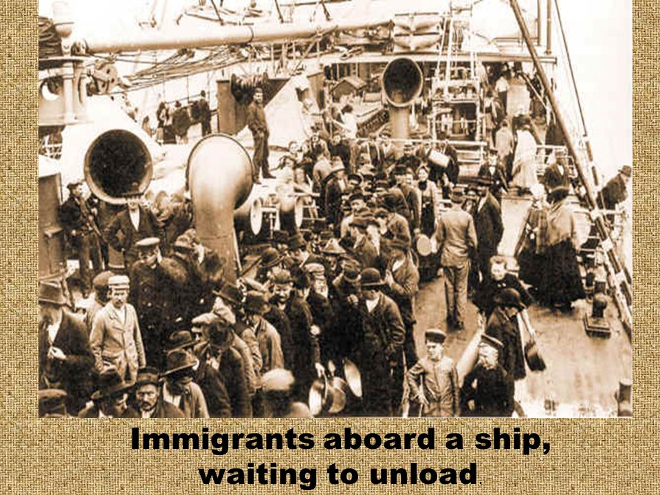 Immigrants aboard a ship,