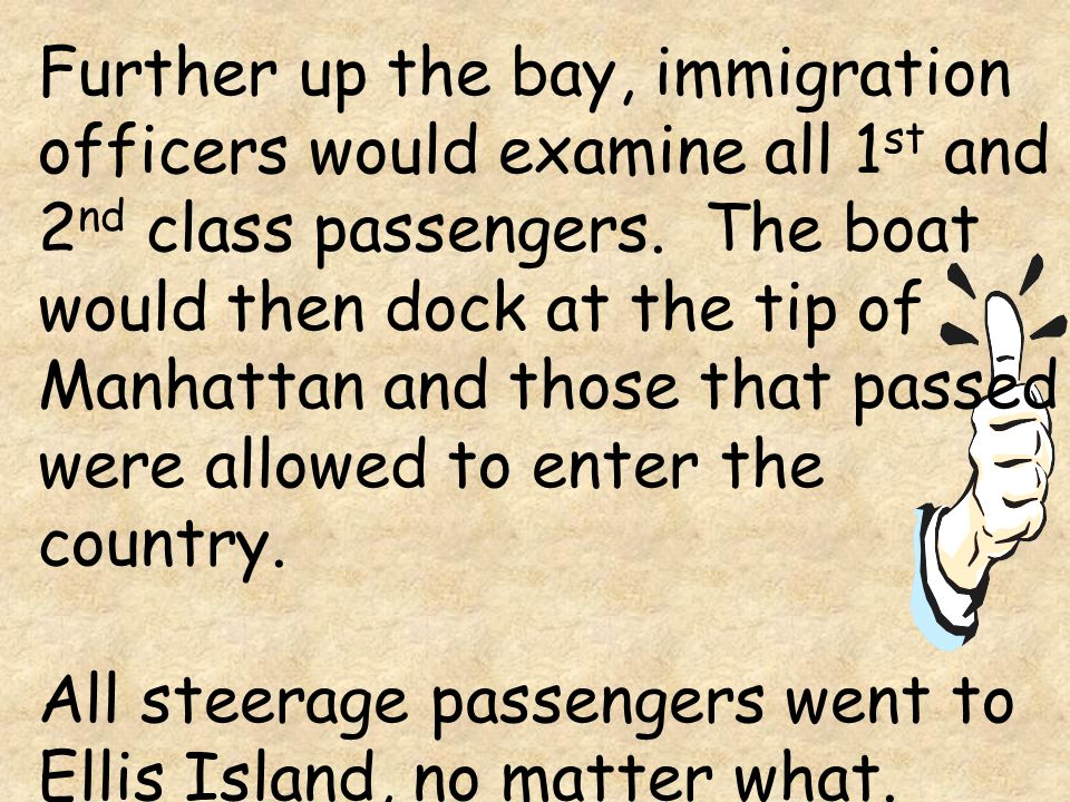 Further up the bay, immigration