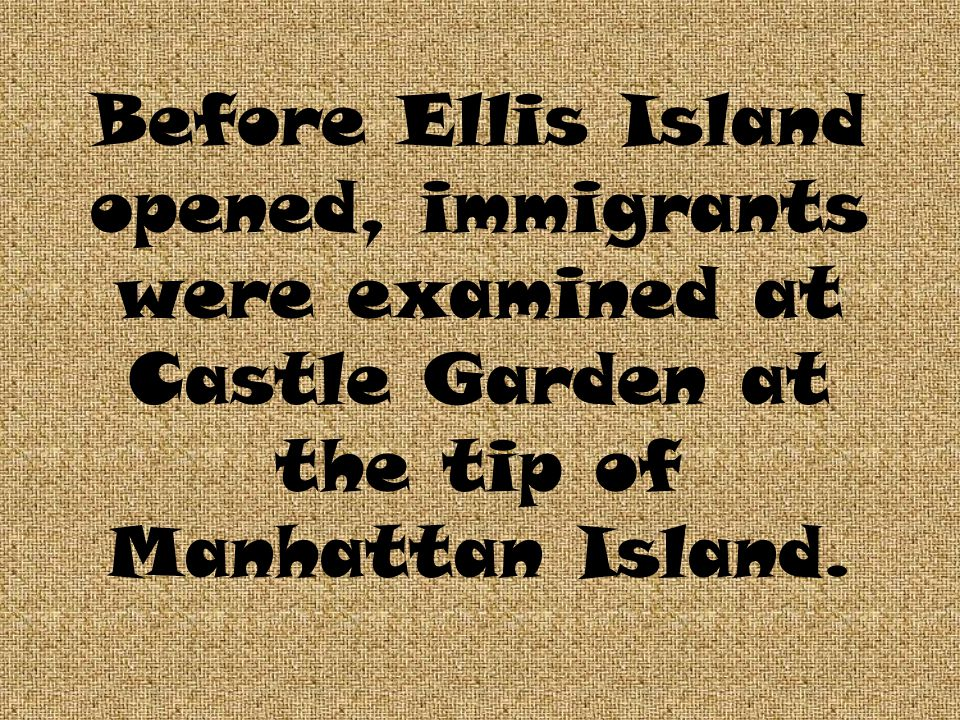 Before Ellis Island opened, immigrants were examined at Castle Garden at the tip of Manhattan Island.