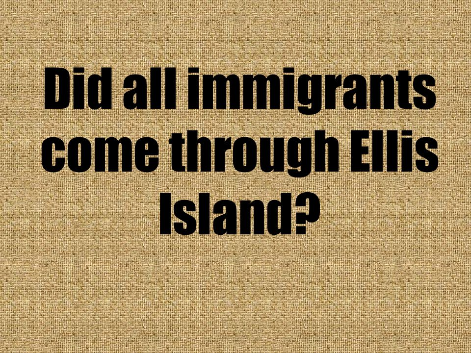 Did all immigrants come through Ellis Island