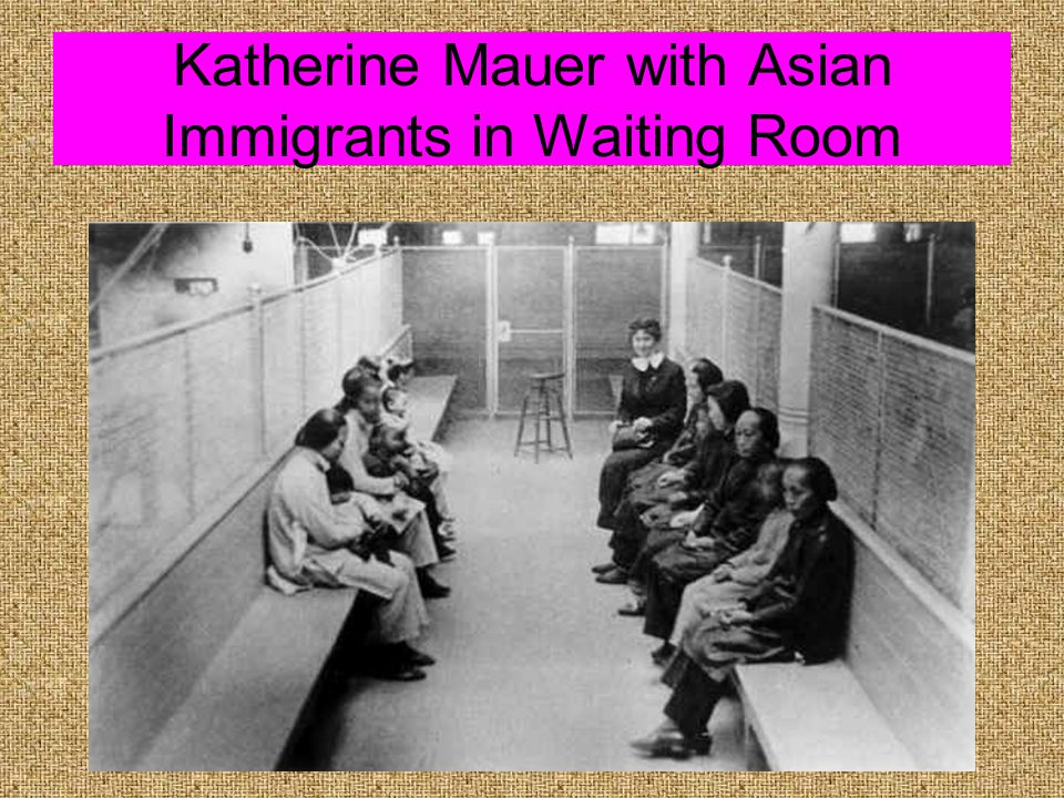 Katherine Mauer with Asian Immigrants in Waiting Room