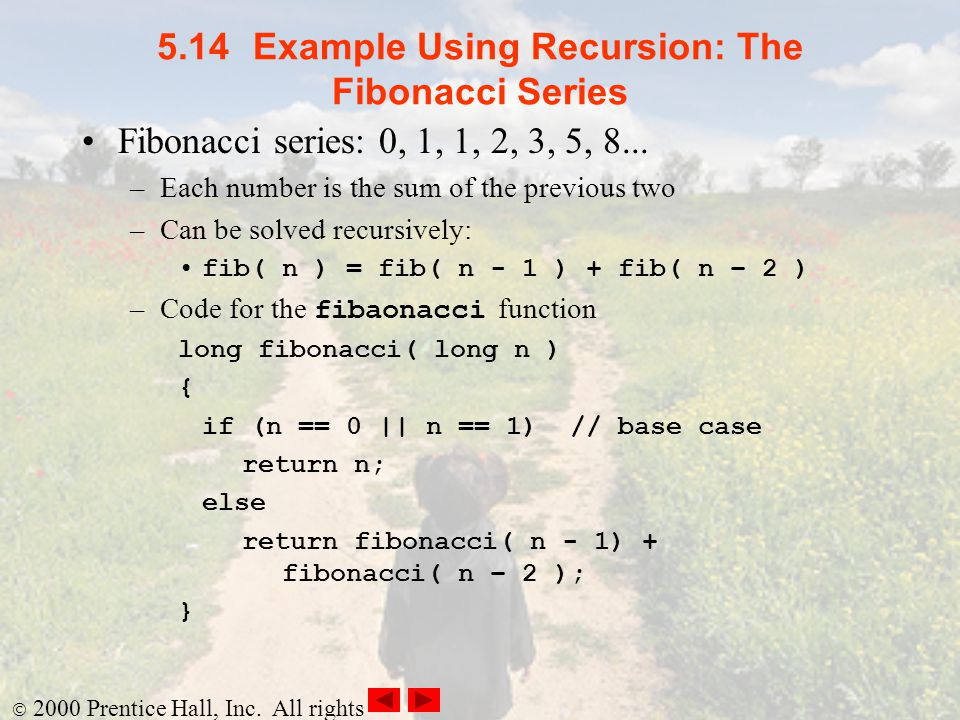 5.14 Example Using Recursion: The Fibonacci Series