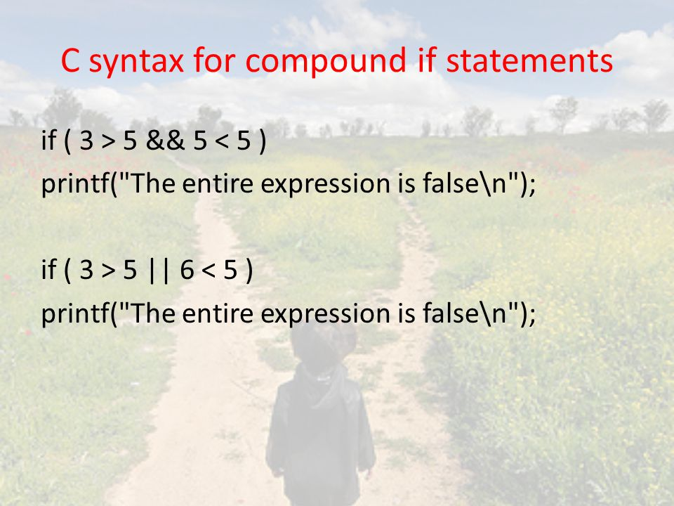 C syntax for compound if statements