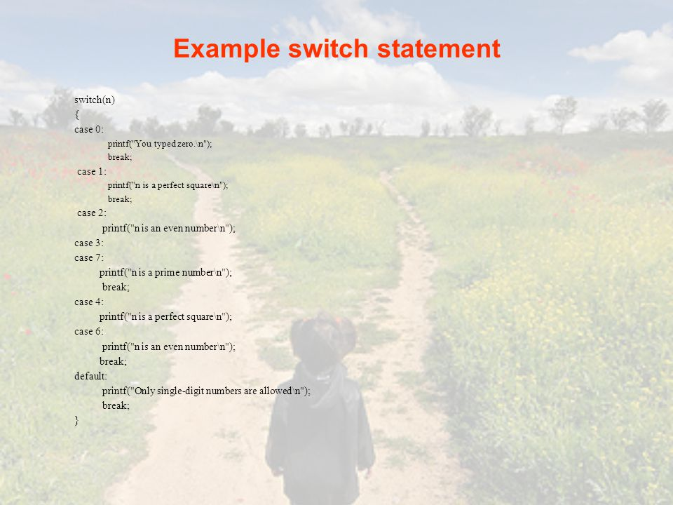 Example switch statement