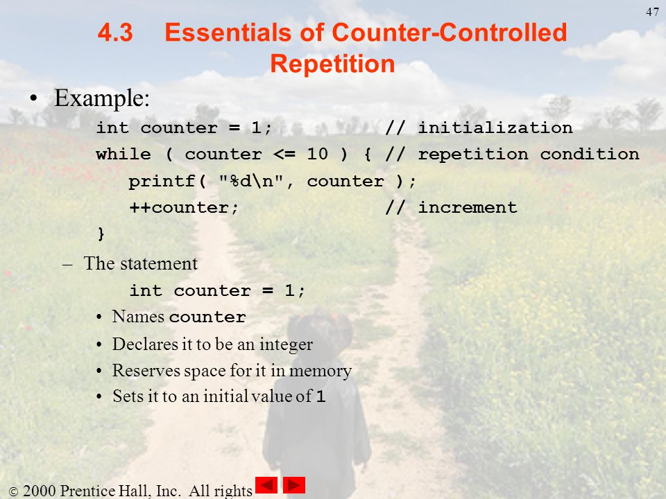 4.3 Essentials of Counter-Controlled Repetition