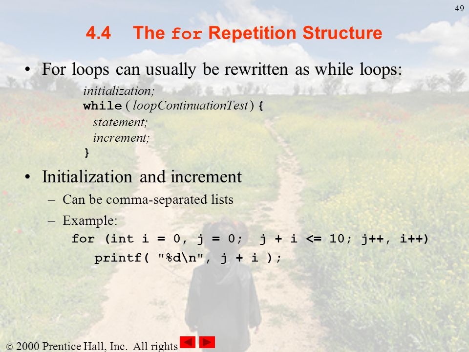 4.4 The for Repetition Structure