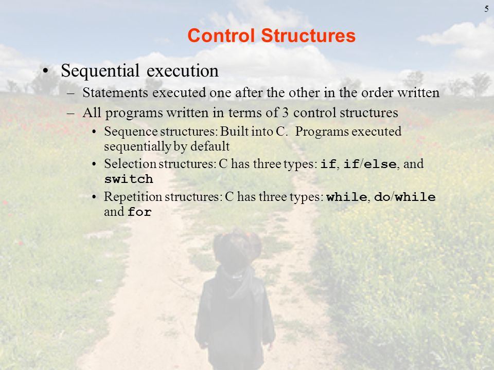 Control Structures Sequential execution