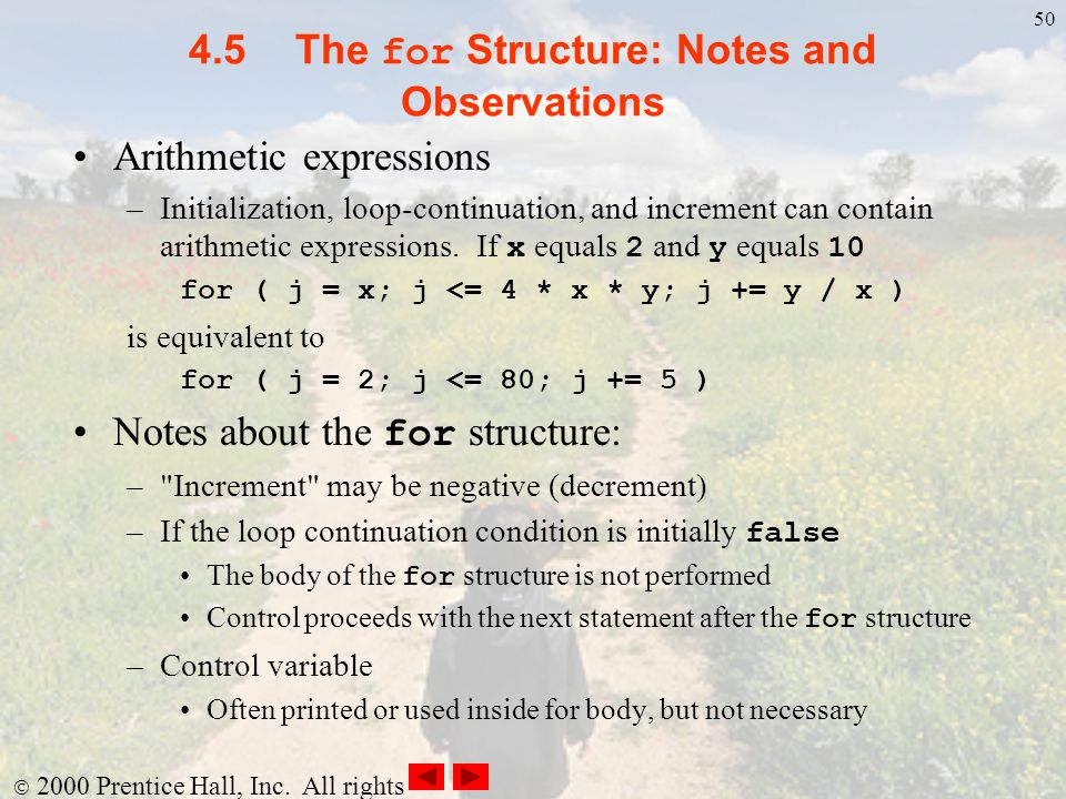 4.5 The for Structure: Notes and Observations