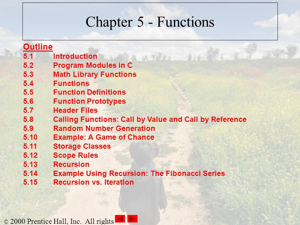 Chapter 5 - Functions Outline 5.1 Introduction