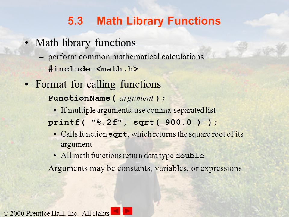 5.3 Math Library Functions