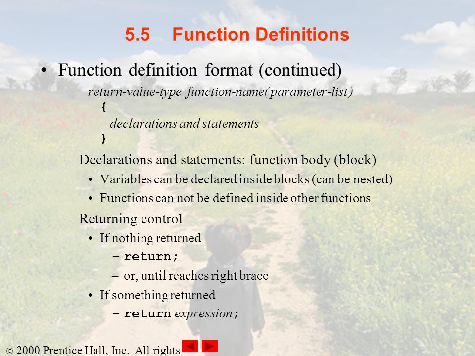 Function definition format (continued)
