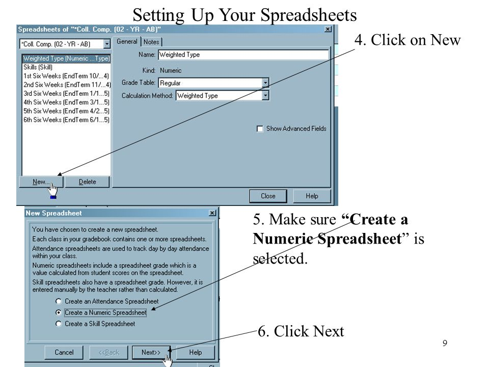 Setting Up Your Spreadsheets