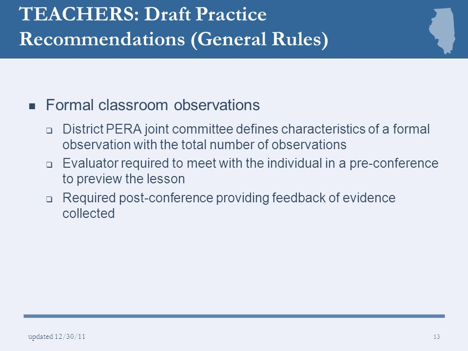 TEACHERS: Draft Practice Recommendations (General Rules)