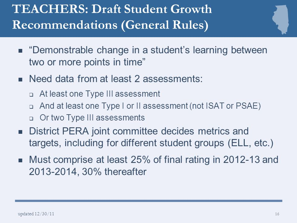 TEACHERS: Draft Student Growth Recommendations (General Rules)