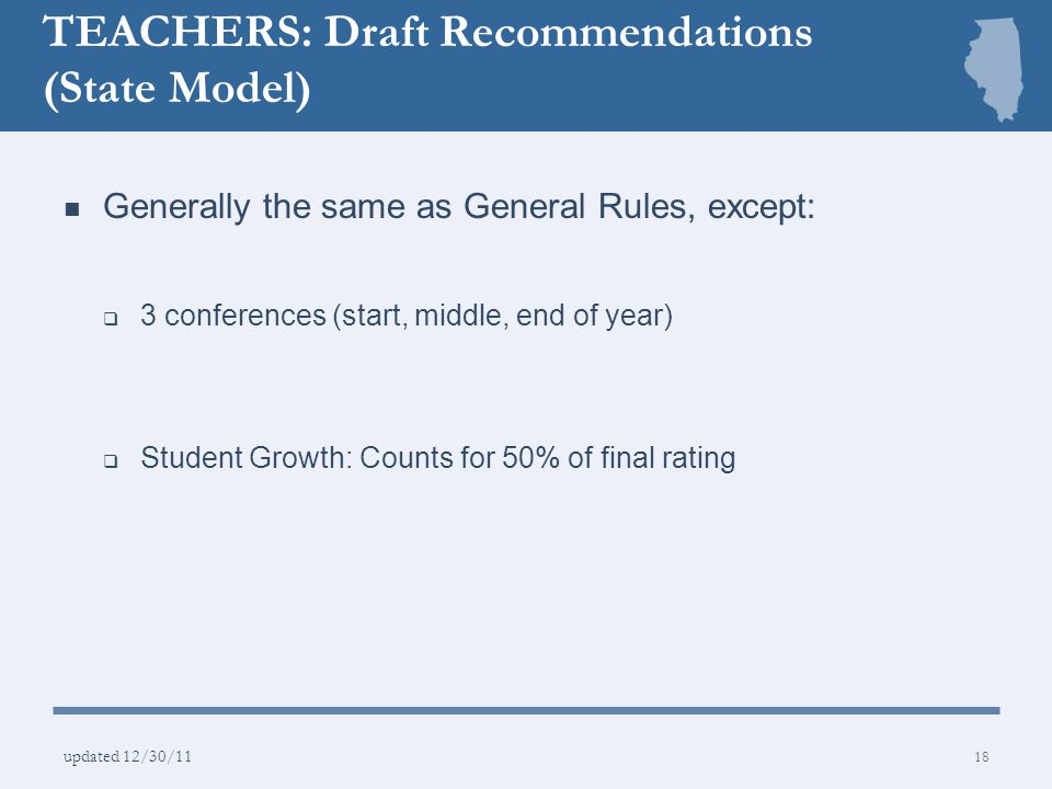 TEACHERS: Draft Recommendations (State Model)