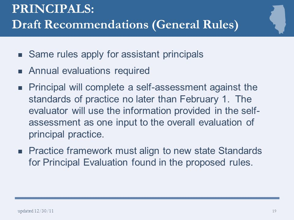 PRINCIPALS: Draft Recommendations (General Rules)