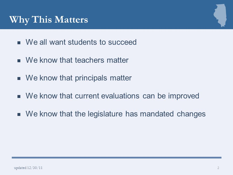 Why This Matters We all want students to succeed