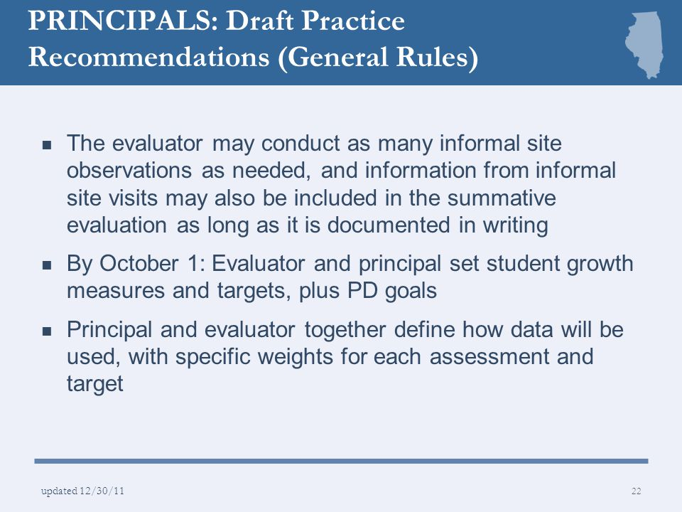 PRINCIPALS: Draft Practice Recommendations (General Rules)
