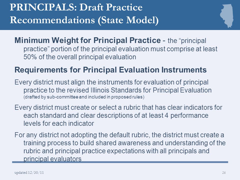 PRINCIPALS: Draft Practice Recommendations (State Model)