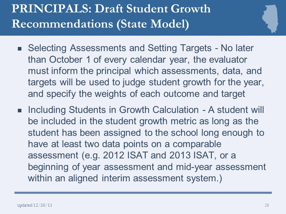 PRINCIPALS: Draft Student Growth Recommendations (State Model)