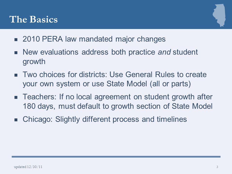 The Basics 2010 PERA law mandated major changes