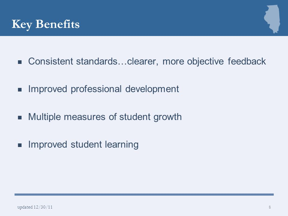 Key Benefits Consistent standards…clearer, more objective feedback