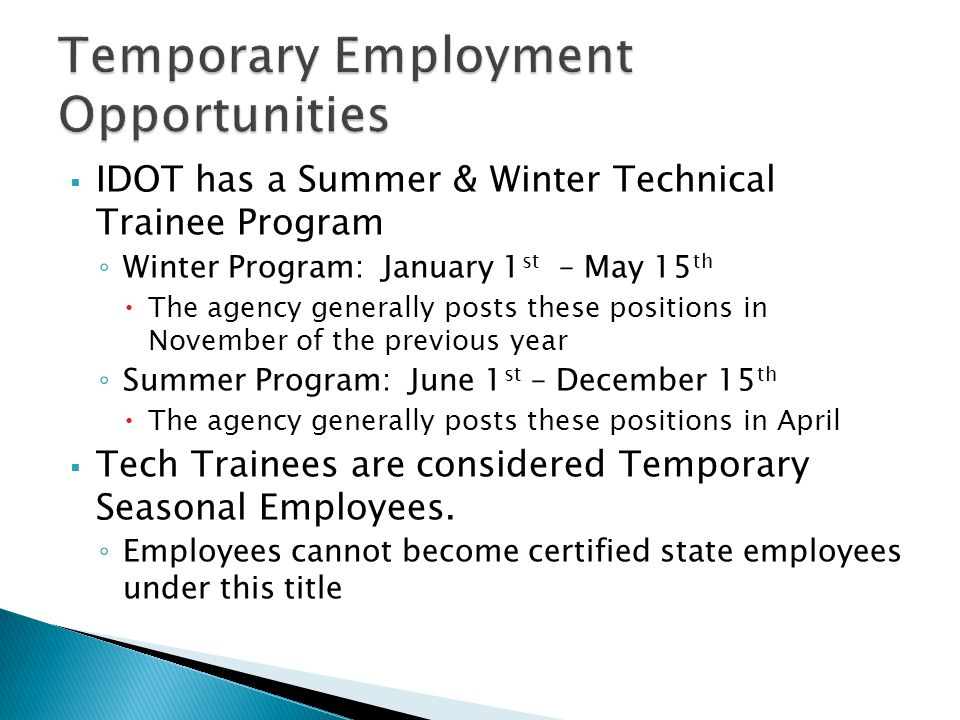 Temporary Employment Opportunities