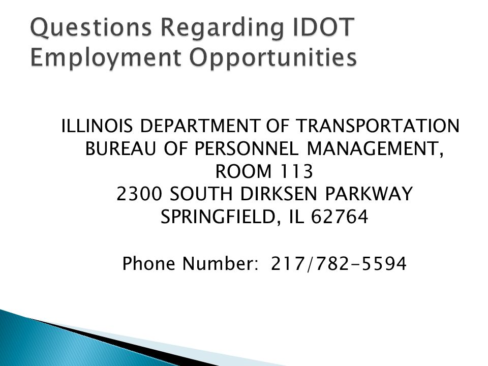 Questions Regarding IDOT Employment Opportunities