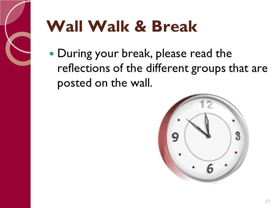 Wall Walk & Break During your break, please read the reflections of the different groups that are posted on the wall.