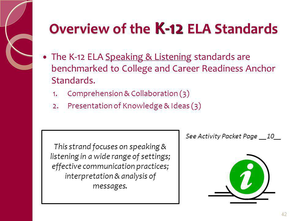 Overview of the K-12 ELA Standards