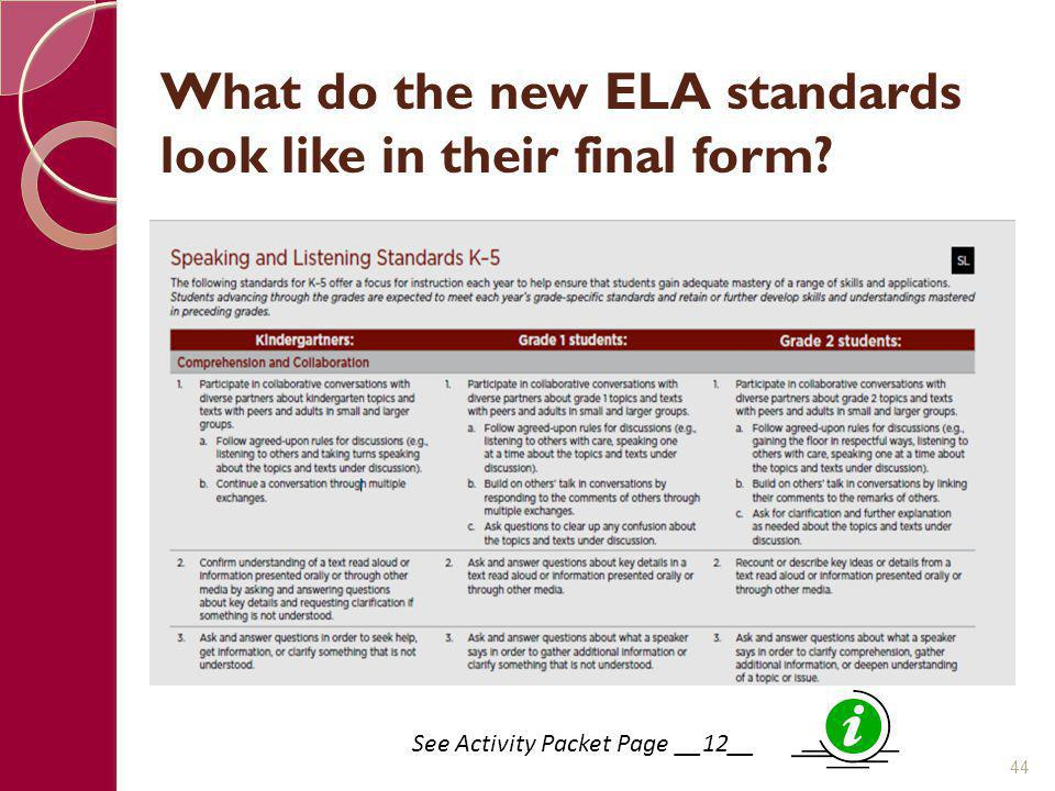 What do the new ELA standards look like in their final form
