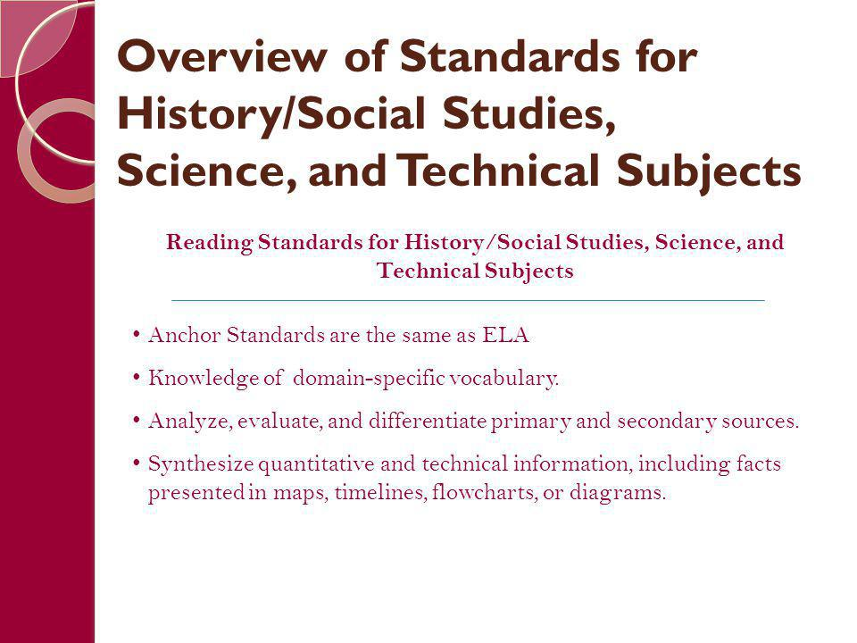 Reading Standards for History/Social Studies, Science, and