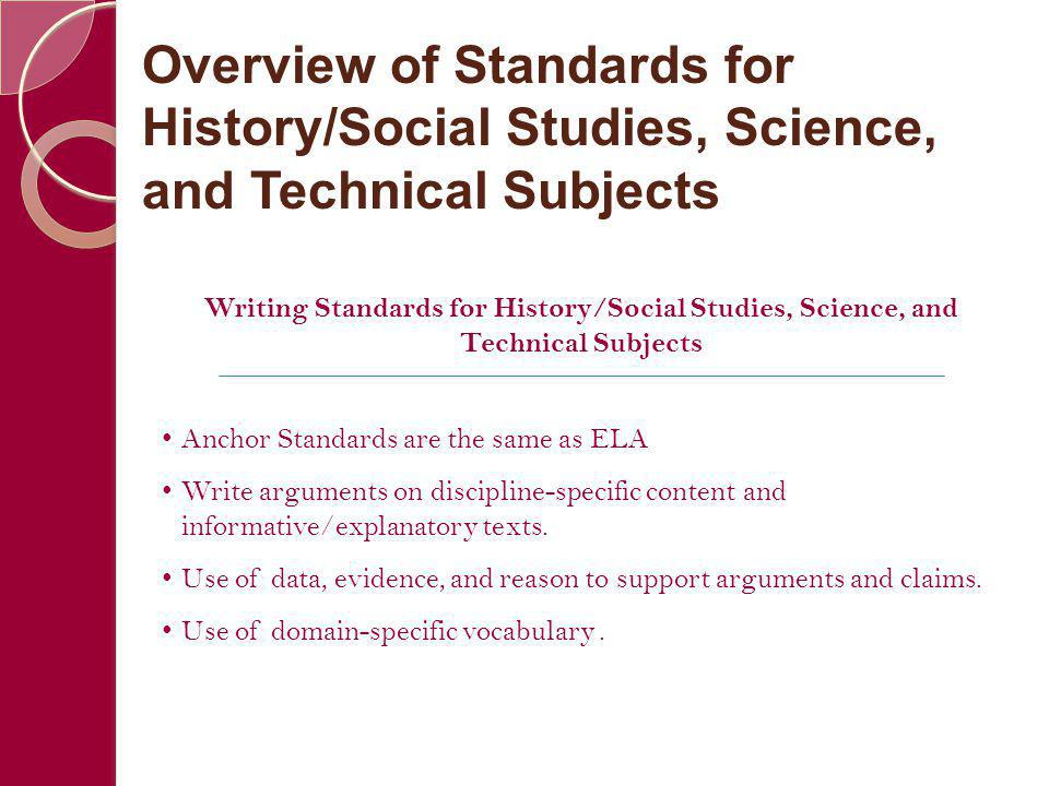 Writing Standards for History/Social Studies, Science, and