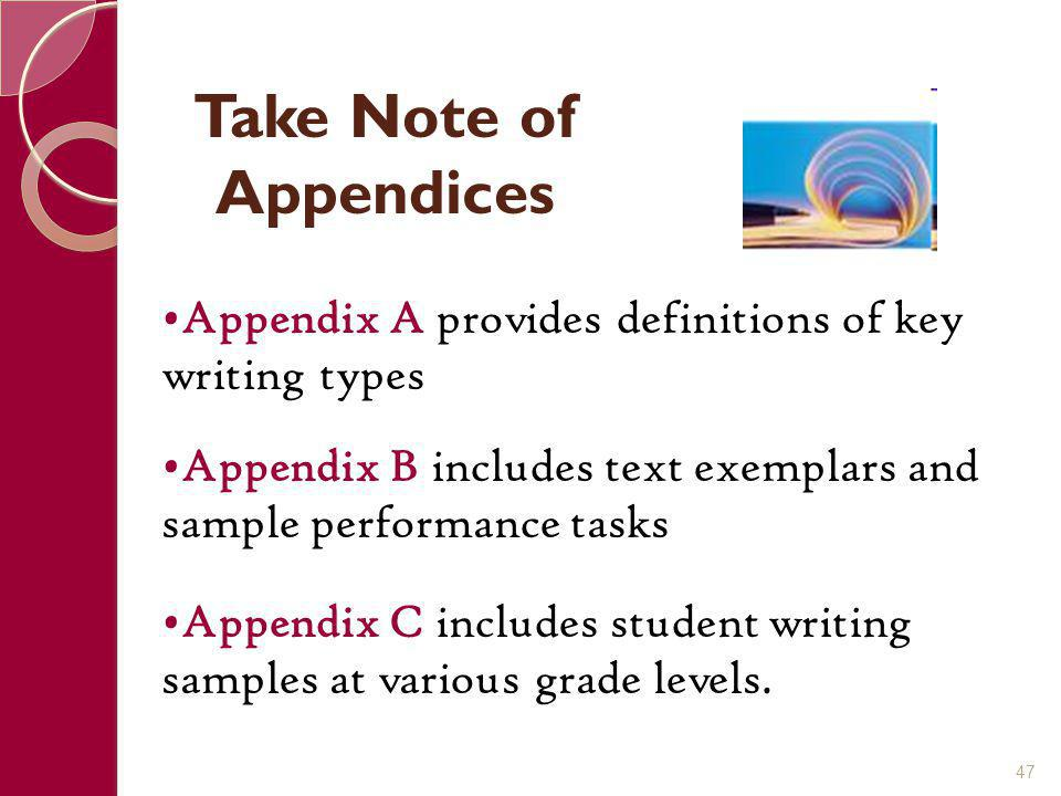 Take Note of Appendices