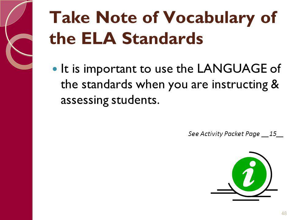 Take Note of Vocabulary of the ELA Standards