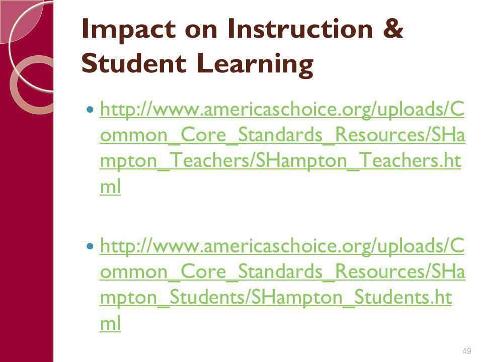 Impact on Instruction & Student Learning