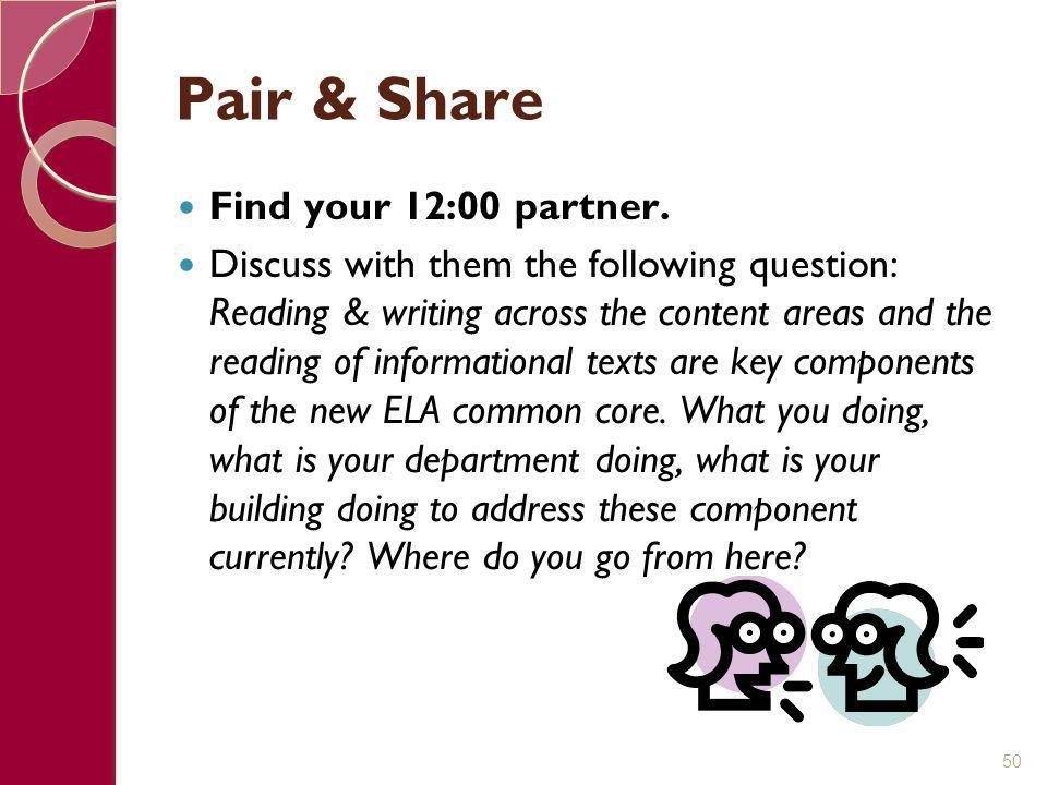 Pair & Share Find your 12:00 partner.