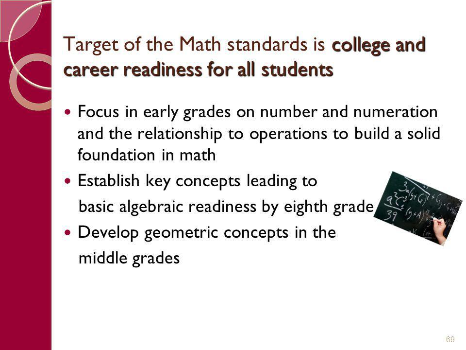 Target of the Math standards is college and career readiness for all students