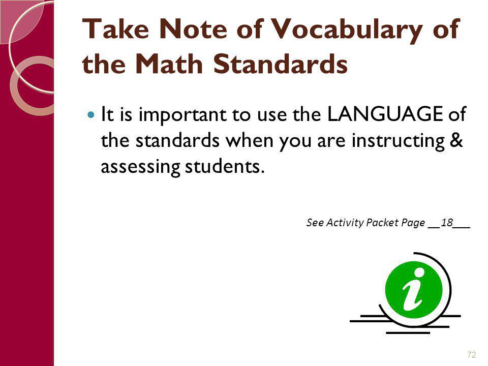 Take Note of Vocabulary of the Math Standards
