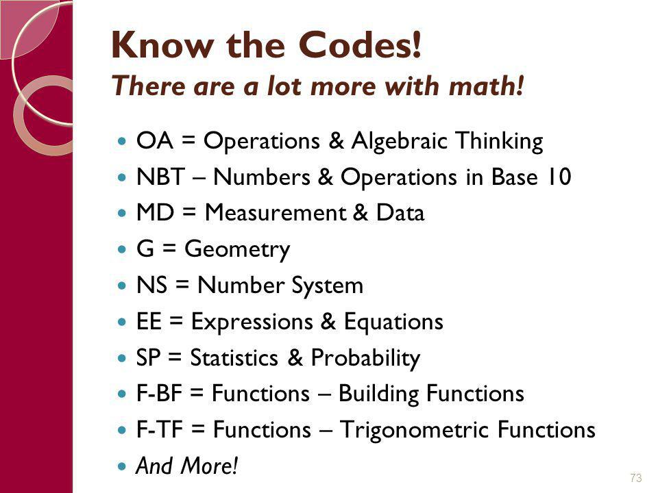 Know the Codes! There are a lot more with math!
