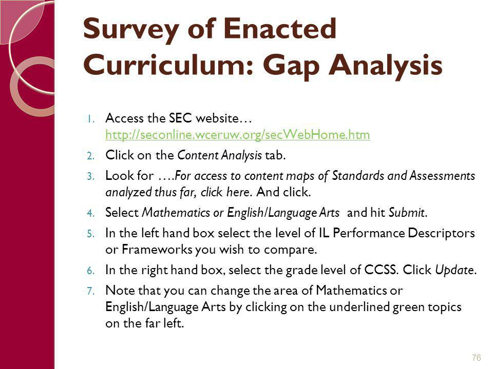 Survey of Enacted Curriculum: Gap Analysis