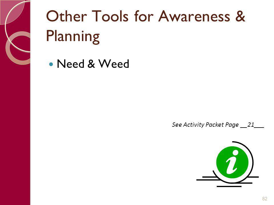 Other Tools for Awareness & Planning