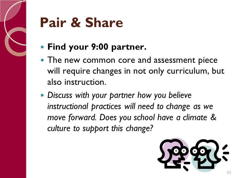 Pair & Share Find your 9:00 partner.