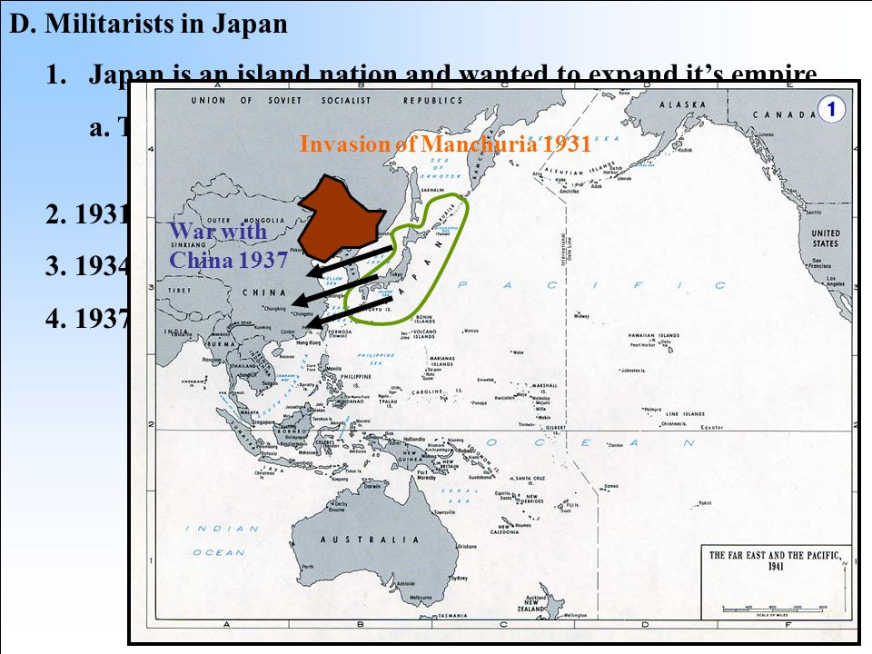 Japan is an island nation and wanted to expand it's empire.