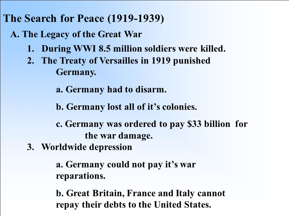 The Search for Peace (1919-1939)
