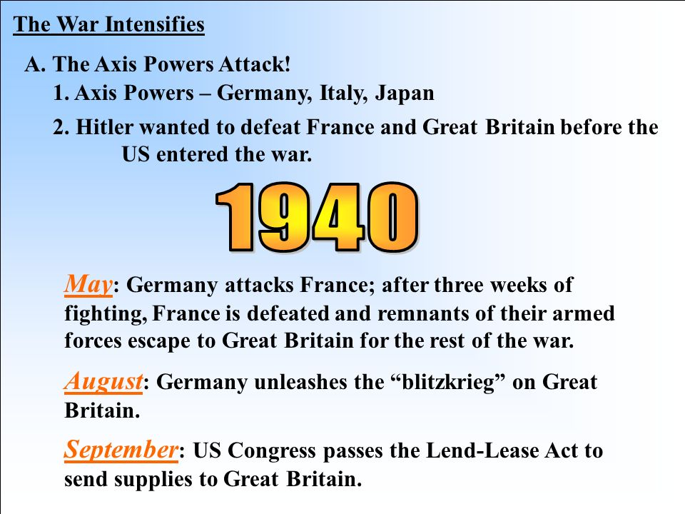 The War Intensifies A. The Axis Powers Attack! 1. Axis Powers – Germany, Italy, Japan.