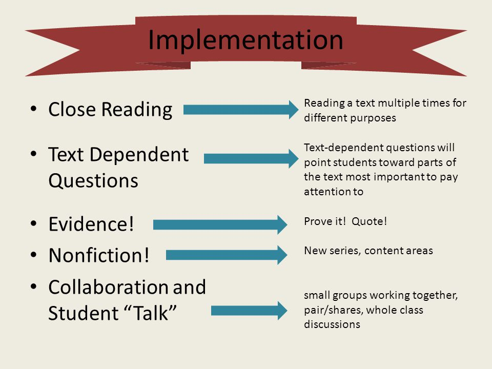 Implementation Close Reading Text Dependent Questions Evidence!