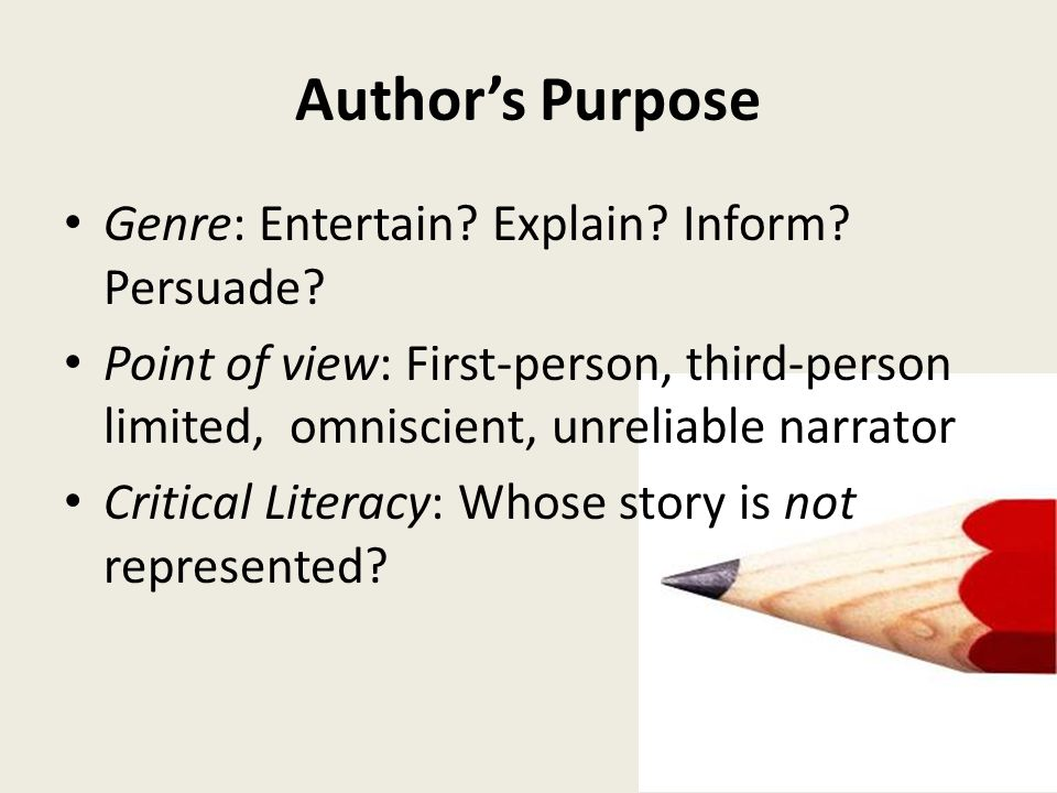Author's Purpose Genre: Entertain Explain Inform Persuade