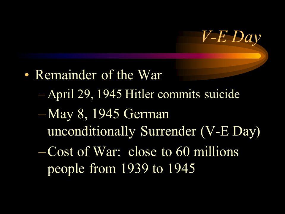 V-E Day Remainder of the War